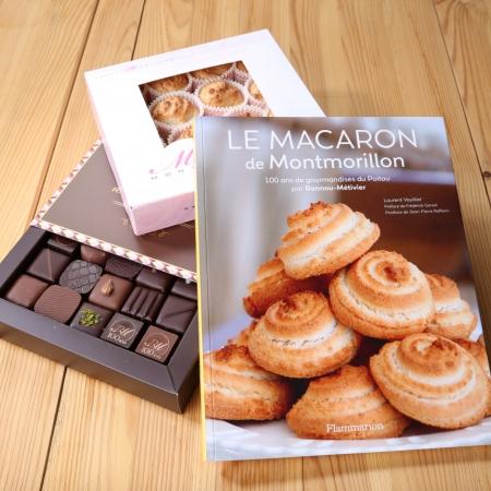 Coffret livre, macarons et chocolats