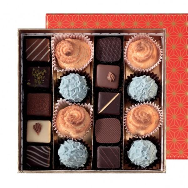 coffret prestige - chocolats, macarons & chardons - 18 pièces